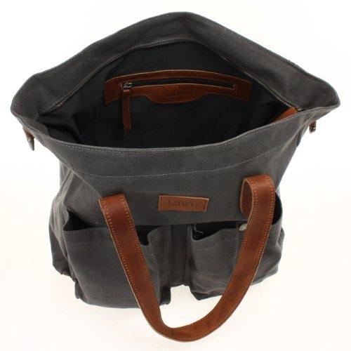 LECONI XL Shopper Canvas Leder Vintage Style Weekender Tasche Damen Beuteltasche 35x39x20cm LE0040-C Grau / Braun