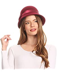 ecdbca663f7 Sakkas Womens Vintage Style 100% Wool Cloche Bucket Bell Winter Hat with  Flower