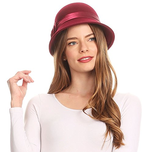 Burgund Akzente (EH2941LC - Sakkas Womens Vintage Style 100% Wolle Cloche Eimer Bell Winter Hut mit Satin Blume Akzent - Burgund / One Size)