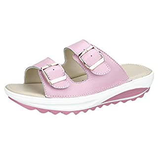 Plot Pantoletten Damen Sommer Bequeme Sandalen mit Keilabsatz Sandalette Einfarbig rutschfest Slipper Strand Schuhe Badeschuhe