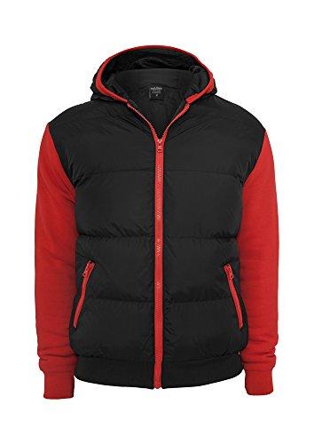 Sweat Nylon Bubble Zip Hoody Black-Red