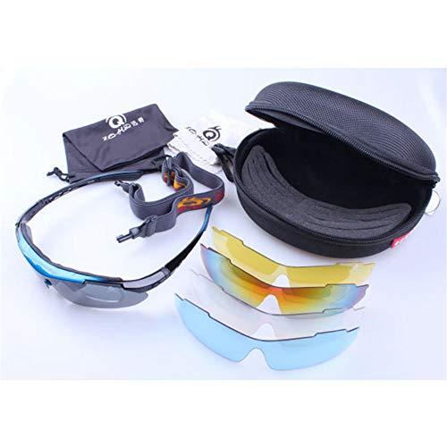 Easy Go Shopping Das polarisierte Licht kann im Freien Sein Radfahren Fahren Brille Anzug Bewegung Tornado Radfahren Laufen Sport Sonnenbrillen Sonnenbrillen und Flacher Spiegel (Farbe : Blau)