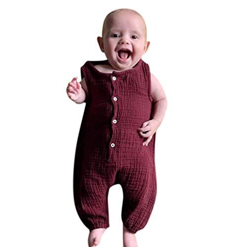 Watopi Neonato Unisex Tutine Senza Manica Cotone Manica con Volant Bambina Romper Colore Cany Pantaloni Tutine Pagliaccetto Bambina Solido Romper, Bebè 3-24 Mesi