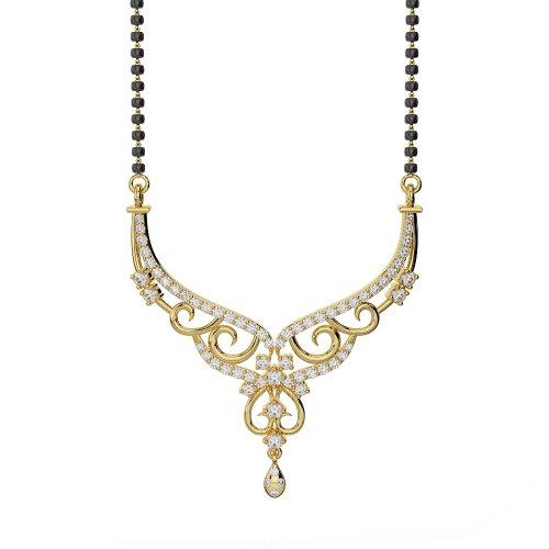 Or jaune 18carats 52CT G-H/VS sertie de diamants ronds Cut Mangalsutra Collier Dnc-2231