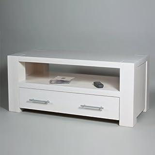 abritus TV-Regal mit Schubladen 102 cm PANDORA Kiefer massiv weiß (Nr.3)