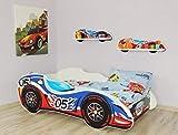 Alcube | Kinderbett Auto-Bett Formel 1 - No. 05 | 160 x 80 cm | mit Rausfallschutz, Lattenrost und Matratze | MDF beschichtet