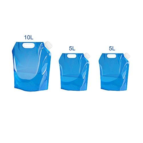 Tomone 3 Stk 10L/ 5L Wasserkanister Faltbar, BPA Geben Plastikwasser-Träger, faltende Wasser-Tasche im Freien Frei Leichtgewichtler, der für Sport kampiert, der Bergsteiger Reitet