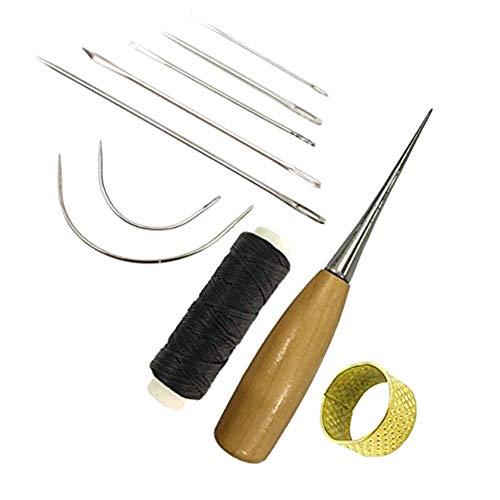Qiuliguo 7 Stück Hand Nähnadeln Gebogene Polster Nadeln Set mit Bohr Ahle und Fingerhut mit Leder...