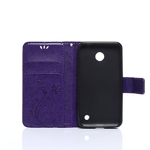 Cover Protettiva Nokia N630, Alfort 2 in 1 Custodia in Pelle Verniciata Goffrata Farfalle e Fiori Alta qualità Cuoio Flip Stand Case per la Custodia Nokia N630 Ci sono Funzioni di Supporto e Portafogl Porpora