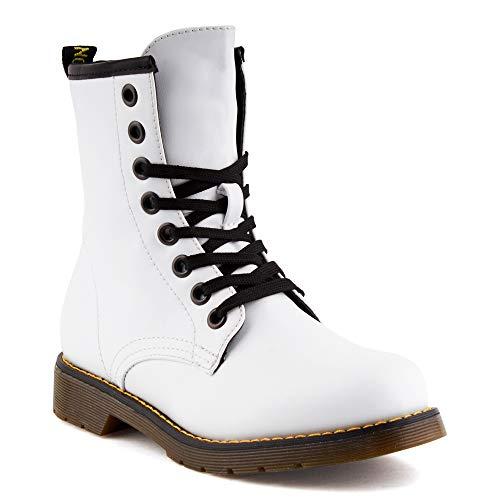 Fusskleidung Damen Biker Boots Stiefel Blockabsatz Schnür Stiefeletten Weiss EU 40