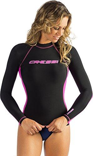 Cressi Damen Rash Guard Long Sleeve, Erwachsene Rash Guard für Schwimmen, Surfen, Tauchen Qualität seit 1946, damen, US071005, schwarz/rosa, xl
