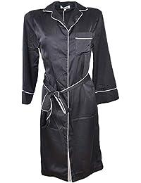 a4c8e2cf17 Malu Shoes Kimono Donna Vero Vestaglia Vintage Utilizzabile Come  coprispalla in Satin Nero con Bordino Bianco