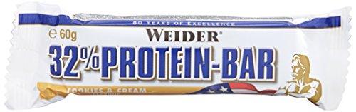 Weider 32{aea0c2459306719d6a578aede2de0c7421c6141127dc4666b3999fd428256a80} Protein Bar, Cookies und Cream, 1er Pack (24x 60g Riegel)