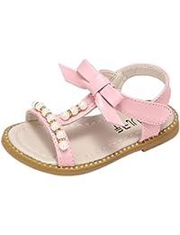 OHQ Scarpe per Neonato, Girls Flowers Beach Sandals Sandali da Spiaggia di Fiori per Ragazze Rosa Bianca Sandali Scarpe da Bambino Scarpe da Principessa Scarpe Romane (23, Bianca)