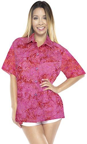 LA LEELA entspannte Freizeitkleidung Strand Hawaii Hemd Rosa_AA138 L - DE Größe :- 46-48 -