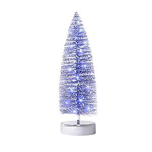 KPCB 35cm Weihnachtsbaum künstlicher Klein Weihnachtsdeko Glitter Tischplatte Baum (Silbrig, L)