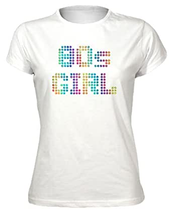 80S Girl - Casuals Funky Sparkly Rainbow Design Womens T-Shirt - White XX-Large