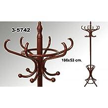 Suska - Perchero de pie clasico de madera suska 1020 - 3574220 - perchero de pie clasico en madera color oscuro(186x53cm)