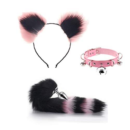 Kostüm Tail Katze Schwarz - QWYY Katze Cosplay Cos-Bell-Kragen, Fox Metal Tail Plüsch und Katzenohren (schwarz & pink) Glamour Female Masquerade Props Set Set Katzenohren