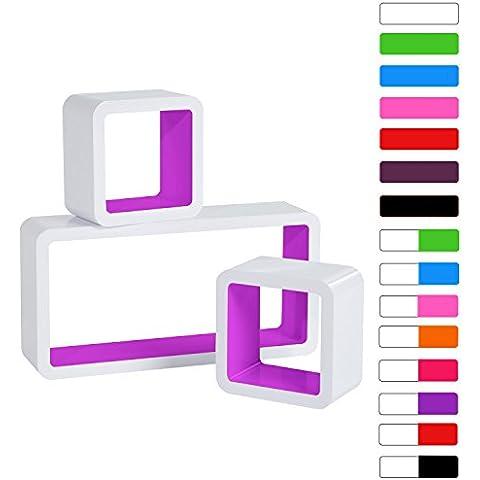 Woltu # 177Lounge Cube Juego de 3estantes Retro Estanterías para pared, madera MDF, color blanco y