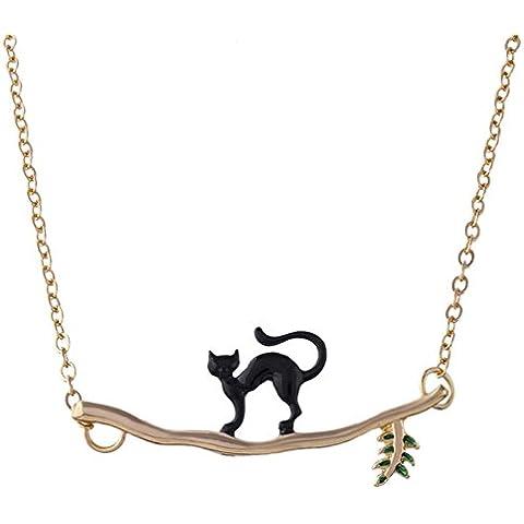 MESE London Gatto Su Ramo Collana Adorabile Gattino Oro Ciondolo - Elegante Confezione Regalo - Gattino Albero