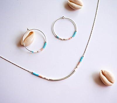 Parure bijoux argent coloré - Collier + boucles d'oreille turquoise et rose pastel - bijoux fin minimaliste - collier perles - créole argent
