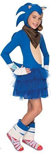 Kostüme Sonic Halloween (Mädchen Offiziell Sega Sonic the Hedgehog Blau Gaming Spieler Halloween Kostüm Kleid Outfit 3 - 10 jahre - 8-10)