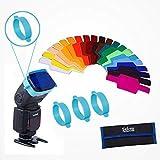 Selens 20 Stück Blitz Gele Alleigmein Beleuchtungs Gele Farbfilter für Blitz (Inklusiv 20 Farbfolien, 3 Band und eine Tasche)