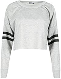 Be Jealous Womens Sports Stripe Long Sleeve Raw Edge Oversized Sweatshirt Ladies Fleece Cropped Top