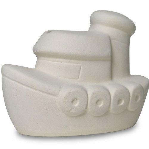 Sassafras / Fun to Paint Ceramic Mini Coin Bank, Tug Boat by Sassafras -