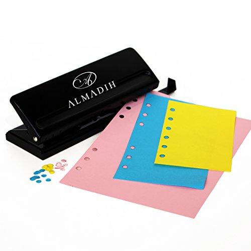 ALMADIH 6fach Locher, verstellbare Abstände für DIN A5 A6 A7 aus Metall, schwarz - für alle herkömmlichen Kalendereinlagen und Terminplaner