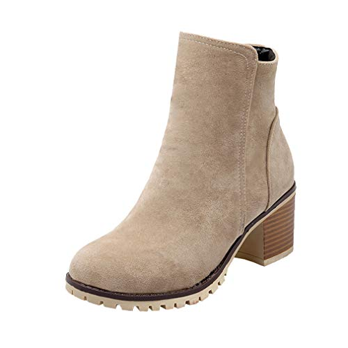 Y2Y Studio Femmes Bottines Chaussures Simple Talons Bloc Moyens 6cm Bout Rond Rétro avec Fermeture Eclair