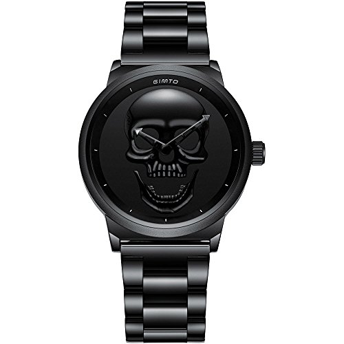 GIMTO Punk Reloj para Mujer Esfera de Calavera Vintage Reloj de Pulsera Casual de Lujo de Cuarzo de Acero inoxidable para Dama