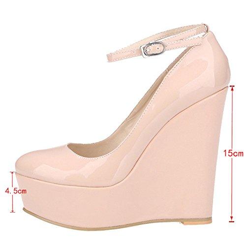 EKS Damen Platform Keilabsatz Ankle Strap High Heels Pumps Nackt-Lackleder
