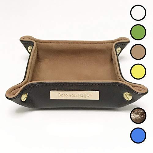 5 Kleine Leder (Doro von Hagen® Echt Leder Designer Schlüsselablage/kleiner Taschenleerer 14x14cm, aussen Dunkelbraun, innen Soft Velourleder Camel Braun. Handgefertigt in unserem Atelier (5-V))