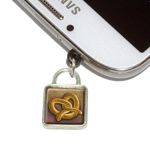 German Soft Pretzel Mobile Phone Jack Square Charm Universal Fits iPhone Galaxy HTC