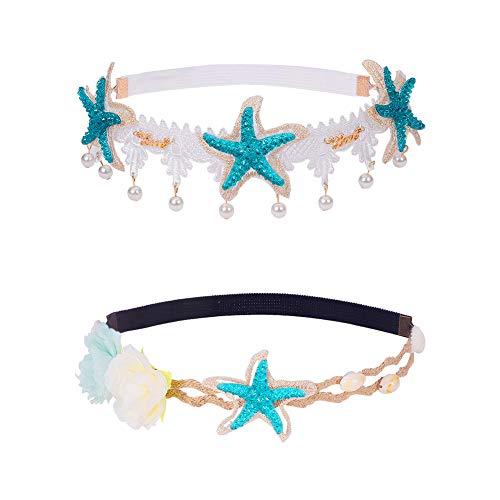 PandaHall 2 Strang Seashell Wave Stirnband Ocean Acryl Starfish Shell Lace Stirnband elastisches Haarband Blumen Starfish Seashell Stirnbänder Meerjungfrau Haarschmuck Stretch Lace Shell