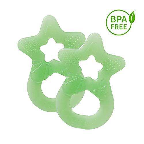 Dentistar® Baby Beißstern - 2er Set Beißring - Zahnungshilfe und Greifling - extra weich und flexibel - BPA frei - ab 3 Monaten - Made in Germany - Hell Grün
