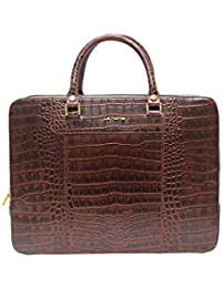 LA ROMA CROCO PRINTED GENUINE LEATHER LAPTOP BAG - B01ET1MI7I