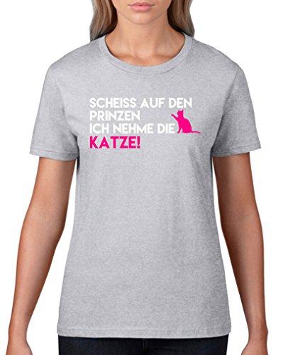 Comedy Shirts - Scheiss auf den Prinzen, ich nehme die Katze - Damen T-Shirt - Graumeliert /...