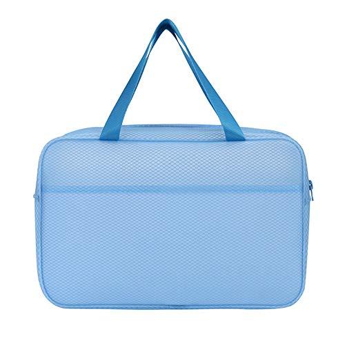 Warooma Semi-transparenter Kulturbeutel, Reisetasche, Kosmetiktasche, Organizer, wasserfest, mit Reißverschluss für Damen und Herren blau blau 33 * 22 * 10cm