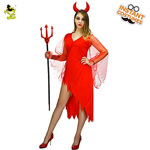 Red Sexy Kostüm Queen - GAOGUAIG AA Adult's Devil Kostüm for Frauen Sexy Red Evil Queen Vampire Kostüm Halloween Party Cosplay Kostüm Kostüme SD (Color : Onecolor, Size : Onesize)