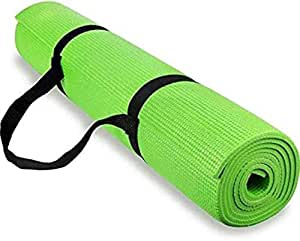 Effingo Yoga and Exercise Mat with Carry Strap (3 mm, Parrot Green)