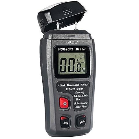 UK Tree GRDE® LCD Digital Humidimètre bois Testeur d'humidité détecteur, capteur de gamme 0%–99,9%, 2broches, 4groupes en bois calibré pour sélectionner, livré avec 1pile 9V