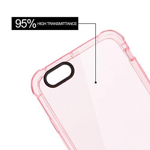 """Coque iPhone 6s / iPhone 6 (4.7"""") , Engive Coque Housse Etui Cover Case de Protection avec Spécial Coussin d'air Conception pour iPhone 6s / iPhone 6 (4.7"""") (Transparent Noir) Rose"""