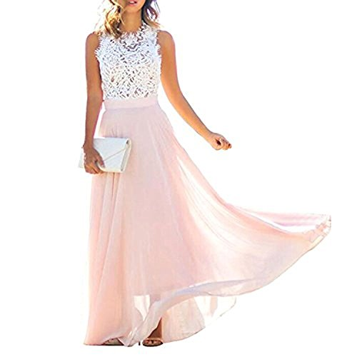 Damen Kleider Frauen Dress Sommerkleider Abendkleid Casual A Line Swing Kleid Ärmelloses Partykleid Cocktailkleid Chiffon Cocktail Party Club Beach MaxiKleid Rosa Strandkleider (Chiffon-cocktail-kleid Ärmelloses)