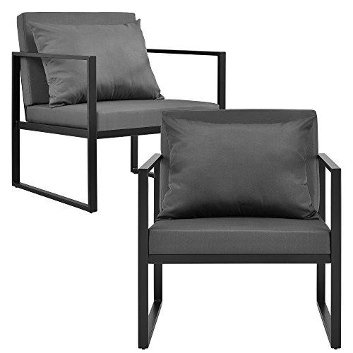 [casa.pro]® 2x Gartenstuhl Gartensessel Schwarz/Dunkelgrau Outdoor Garten Lounge Sessel 70 x 60 x 60 cm