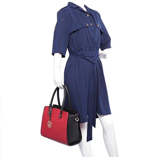 Miss LuLu Handtasche Umhängetasche PU-Leder Damentasche Elegant Tasche in 9 Farbe LT6627-Rot/Schwarz