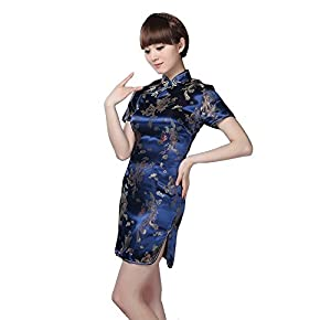 Visork Dragon Phoenix Dress Chinese Dress Short Sleeve Women's Mini Dress Cheongsam Despatch Slim Skirt Wedding Gown Navy Blue by Visork