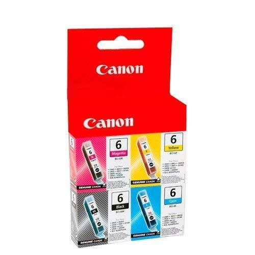 Photo Magenta Ink Tank (Original Quad pack Canon BCI-6 BCI6 Cyan Magenta Black Yellow ink cartridge tank (Pixma Pixus Bubblejet Photo & MFP printer) Bci6M bci6Y bci6K bci6C (Bci-6M bci-6Y bci-6K bci-6C) - in foil packaging)